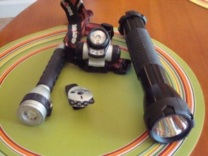 Flashlights including red for night vision